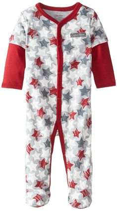 Amazon.com  Calvin Klein Baby-Boys Newborn Red Gray Print Sleeper  Clothing 6fc010472