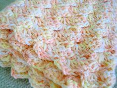 Crochet baby blanket peach yellow white handmade afghan boy girl stroller crib blanket