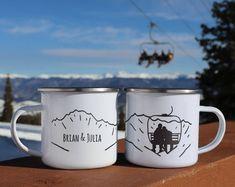 Ski gifts - custom enamel mug, ski decor tin anniversary gift mountain engagement mug snowboard mr and mrs mug camp coffee mug Gifts For Wedding Party, Wedding Themes, Themed Weddings, Wedding Favors, Wedding Stuff, Snowboarding, Skiing, Tin Anniversary Gifts, Staff Appreciation Gifts