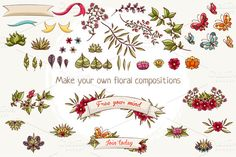 Check out Flowers, leaves and ribbons by Dreaming_Lucy on Creative Market