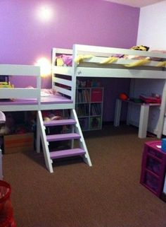 Ana White Camp Loft Bed with extended landing and railing (perfect for a reading nook with comfy pillows and a lamp)