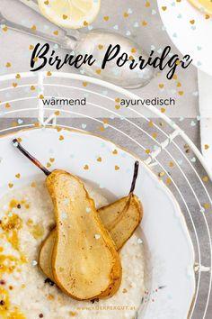 Die Wärme tut nicht nur dem Bauch, sondern auch der Seele gut! Denn schon in der Früh eine warme Mahlzeit zu sich zu nehmen schafft Wohlbefinden und Genugtuung.Das Rezept für das wärmende Birnen-Porridge findest du in meinem Blogpost. Viel Spaß beim Nachkochen!#porridge #rezepte #winter #herbst #ayurveda #wärmend #frühstück Pitta, Cantaloupe, Fruit, Food, Turmeric, Pears, Feel Better, Meal, Essen