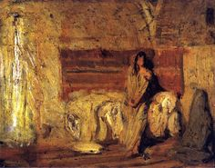 Henry Ossawa Tanner, Study for The Annunciation, oil on wood, Smithsonian American Art Museum - Washington DC African American Artist, American Artists, Henry Ossawa Tanner, Photography Illustration, Art Database, Black Artists, Religious Art, Animal Paintings, Impressionism