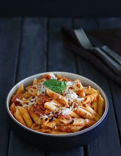 Vodka Sauce - This sauce isn't too creamy but definitely has the richness that a vodka sauce should have. The current version. Use your favorite pasta.