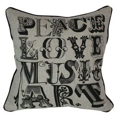 Peace, Love, Music, Art - Pillow.