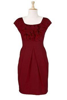 Ruffled cotton poplin dress