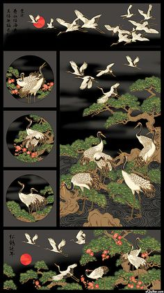 """Mandolin - Flock of Cranes - Dk Gray/Gold - 24"""" x 44"""" PANEL Stunning. Would love as a wall hanging."""