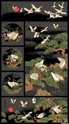 Northcott Fabrics - Mandolin Panel - x Japanese Quilt Patterns, Japanese Fabric, Asian Quilts, Asian Fabric, Asian Design, Panel Quilts, Traditional Paintings, Fabric Art, Quilting Designs