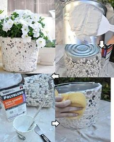 51 ideas stone patio diy planters for 2019 Tin Can Crafts, Diy Home Crafts, Diy Home Decor, Rustic Planters, Diy Planters, Rock Planters, Concrete Crafts, Easy Diy Gifts, Stone Crafts