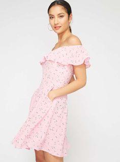966e204d866 Pink Floral Bardot Skater Dress Bardot Skater Dress