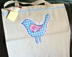 Cotton tote shopping bag hand decorated with handmade fabric vintage style bird  £6.00