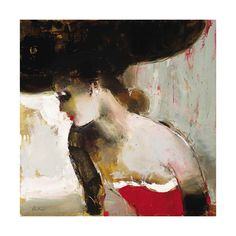 elena ilku woman in red. i love ALL of her paintings of women. this one's in my dining room.