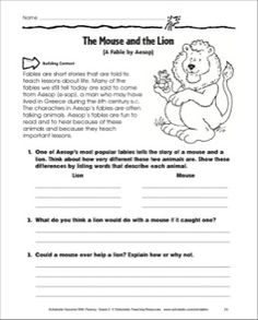 Printables The Lion And The Mouse Worksheets lion reading and guided on pinterest the mouse fluency building practice pages