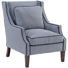 Norwalk Modern Tile Print Navy Piped Dark Brown Arm Chair ($1,169) ❤ liked on Polyvore featuring home, furniture, chairs, modern arm chair, fabric armchair, navy blue chair, padded chairs and mod chair