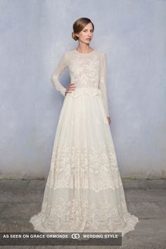 Luisa Beccaria Bridal Collection 2015   Beautiful, Ivory, Long Sleeve Silk & Lace A-Line Bridal Gown Showcasing An Embroidered Lace Silk Bodice With Jewel Neckline, Small Peplum Detail At Natural Waist, & Full Skirt, Chapel Train>>>>