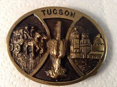 Vintage Solid Brass #Tucson Belt Buckle #Hank #Richter Registered Collection