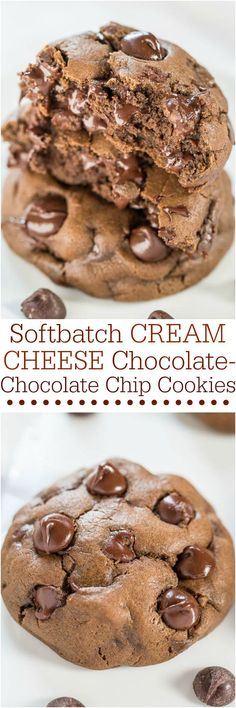 The BEST Chocolate Chip Cookies And Desserts Recipes – Easy and so Yummy! The BEST Chocolate Chip Cookies and Treats Recipes - Softbatch Cream Cheese Chocolate-Chocolate Chip Cookies Recipe via Averie Cooks Chocolate Chip Cookies Rezept, Best Chocolate Chip Cookie, Chocolate Chocolate, Craving Chocolate, Chocolate Recipes, Chocolate Smoothies, Chocolate Shakeology, Chocolate Biscuit Recipe, Chocolate Christmas Cookies