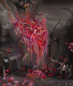 Michael Page  Anunnakis Taking, 2012, 48 x 56 inches Oil and acrylic on canvas. Anunnakis, are deities that are associated with fertility, and then later the gods of the underworld and judgement in Ancient Mesopotanian cultures