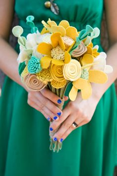 Custom Wildflower Felt Wedding Bouquet - Bridal - Alternative to fresh flowers - Yellow and Green Bouquet -. $195.00, via Etsy.