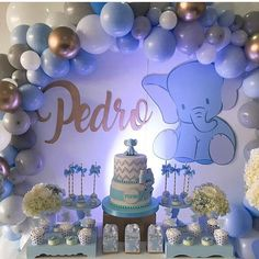Baby Shower Decorations For Boys, Boy Baby Shower Themes, Baby Shower Balloons, Baby Shower Fun, Baby Shower Parties, Babyshower Themes For Boys, Baby Girl Elephant, Elephant Theme, Elephant Baby Showers