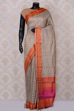 #Beige pretty printed #tussar #saree with peach border-SR18559