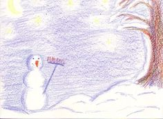 ** Snowman. 10 minute drawing with Stockmar wax colors using only prime colors **