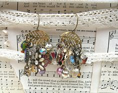 earrings mix assemblage mismatch found charm by lilyofthevally