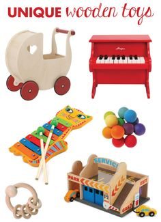 We have a great selection of wooden toys for baby, toddler and kids at Hip Baby! #unique #wood #toys #baby #toddler #kids