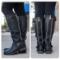 "⭐️LAST PAIR⭐️NIB Black Studded Boots Size 6 NIB Black Studded Riding Boots. Awesome studded detail along back panel, rounded toe, buckle strap design at the ankle, stitching accents, and low heel. Synthetic leather, cushioned footbed with padded insole. Measurements (based on size 6): heel 1 1/4"", Shaft 16.25"" (w/heel), Opening Circumference 14"" No Trades and No PaypalPrice is firm, Not eligible for bundle discount. Also available in Brown. Shoes"