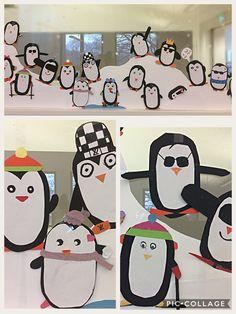 Pinguïns van papier. Allemaal een eigen karakter, samen in de sneeuw. AK