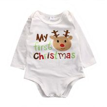 Christmas Kids Baby Boys Girls Infant Deer r Jumpsuit Long Sleeves Bodysuit Cotton Clothes Outfits(China (Mainland))