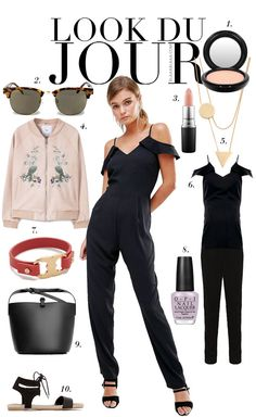 Look Du Jour: Ey! Romantic Monday! Black jumpsuit+black ankle strap sandals+light pink bomber+black shoulder bag+carey sunglasses+gold jewelery. Summer outfit 2016