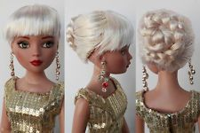 "Sherry Fashion Wig /7-8"" 16"" Ellowyne Wilde/1/4 Dollfie MSD Brown Doll(3-SEW-4"