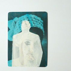 retro art original aceo -- pop art, mod, 60s, electric blue, silhouette portrait, aqua