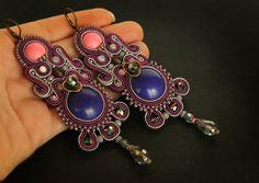 Long purple soutache earrings dangle soutache earrings by pUkke