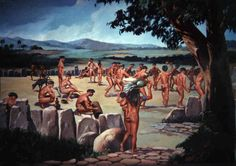 A modern illustration of the Taíno participating in an areyto (dancing ceremony) on the batey (court or plaza) [History]