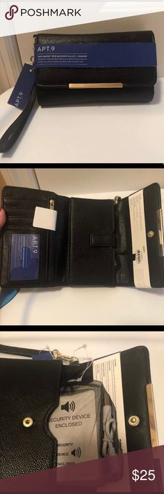 Apt 9 Women's Wallet With Charger NWT Apt 9 Women's safe keeper rfid wallet plus charger Safeguards credit cards and charges your phone. Includes portable charger and usb cable 4 credit card slots Apt. 9 Bags Wallets