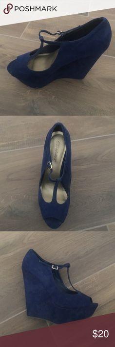 Blue wedge heels Worn once Breckelles Shoes Wedges
