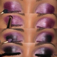 deep purple and pink smokey eye.