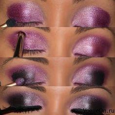 deep purple and pink smokey eye.