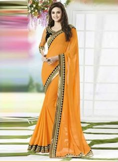 Sunlight Yellow Faux Georgette With Black Patch Border Work  Saree http://www.angelnx.com/Sarees/Designer-Sarees