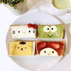 OMG the jelly one would be perfect for ds! Sanrio sandwiches by Angel ( Cute Snacks, Cute Food, Good Food, Yummy Food, Food Crafts, Diy Food, Toddler Meals, Kids Meals, Food Art For Kids