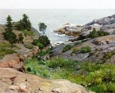 """Monhegan Island,"" Frederick Judd Waugh, oil on canvas, 25 x private collection. Landscape Paintings, Watercolor Paintings, Landscapes, Maine Islands, Jamie Wyeth, Monhegan Island, Rockwell Kent, Nantucket Island, Image Painting"