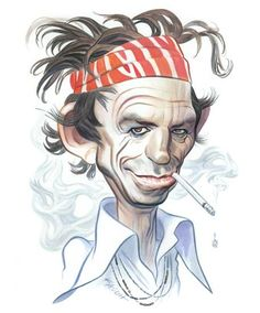 Keith Richards / Entertainment Weekly : watercolor : John Kascht | Caricature Portraits