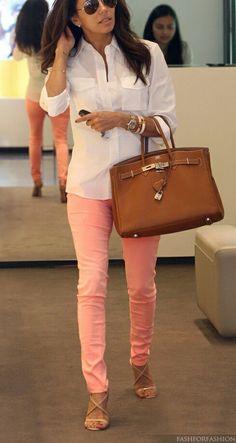 Eva Longoria in bright bottoms with a crisp white top.