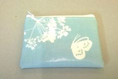 Now sold  Coin purse in pale blue with butterfly, Oilcloth card wallet, credit card…