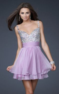 Lavender La Femme Style 16813 Short Chiffon Prom Dress  PRICE: $146.99  Cute short, fully embellished top dress with layered chiffon skirt. Great after prom party dress. Fabric: Poly Chiffon    Style: 16813    Show In: Lavender  http://www.lafemmestyledressoutlet.com/lavender-la-femme-style-16813-short-chiffon-prom-dress-p-37.html