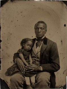 ca. 1870's, [hand-tinted tintype portrait of shy-looking girl sitting on her father's lap]  via the San Francisco Museum of Modern Art