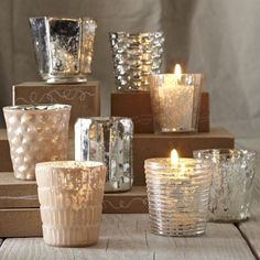Bought some of these mercury glass votives at Target for half the price of the ones at West Elm. Used them for our table at Thanksgiving, and several people commented on them. Would be nice for Christmas too.