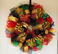 Black History Month Wreath - Jennifer Home Black History Month, Black History Facts, Diy Wreath, Mesh Wreaths, Wreath Making, Wreath Ideas, Fall Crafts, Diy And Crafts, Juneteenth Day